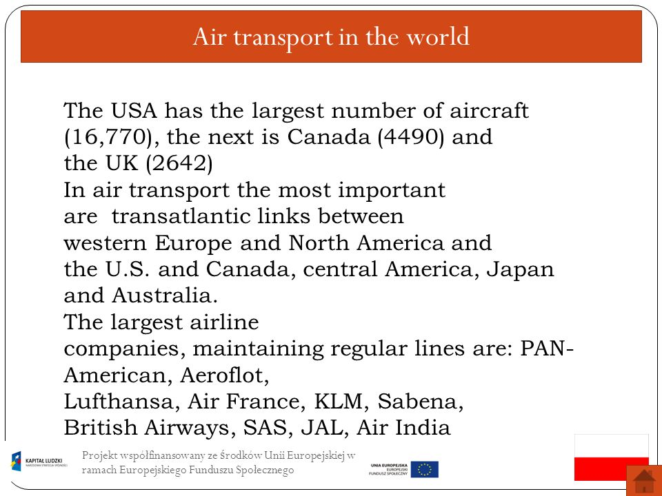 Air transport in the world