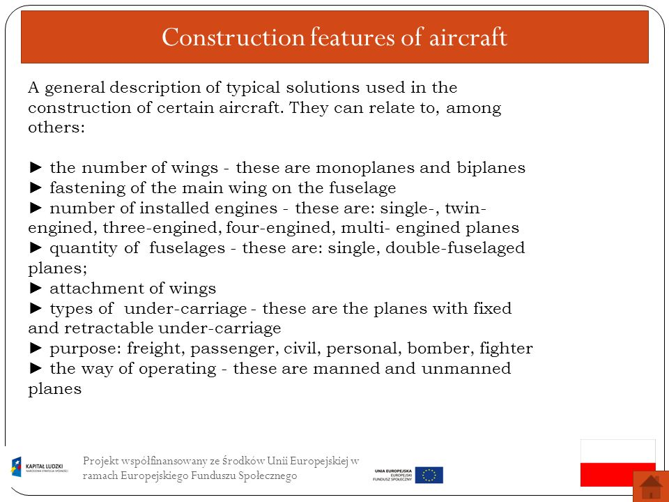 Construction features of aircraft