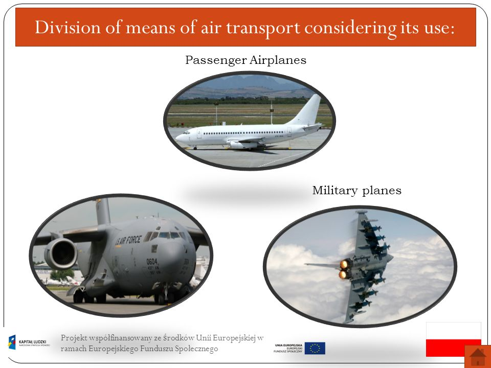 Division of means of air transport considering its use: