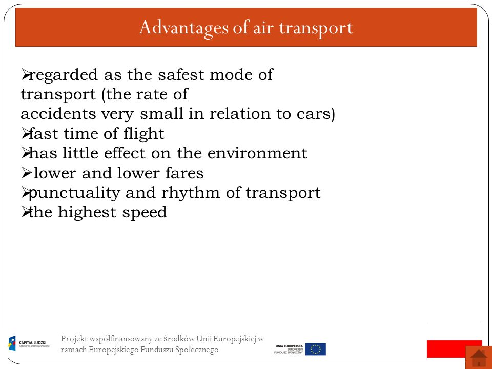 Advantages of air transport