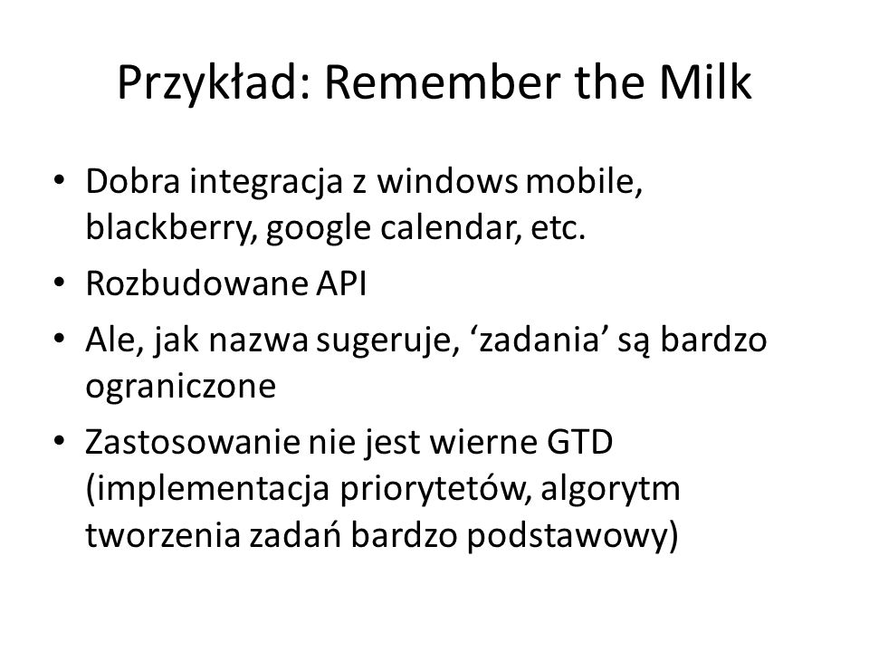 Przykład: Remember the Milk