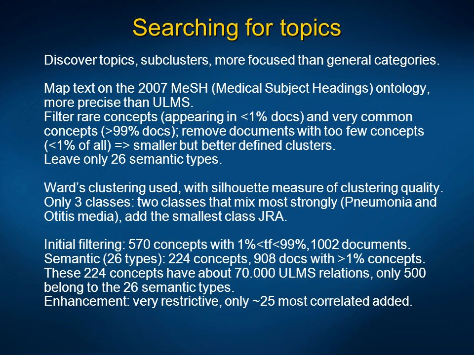 Searching for topics Discover topics, subclusters, more focused than general categories.