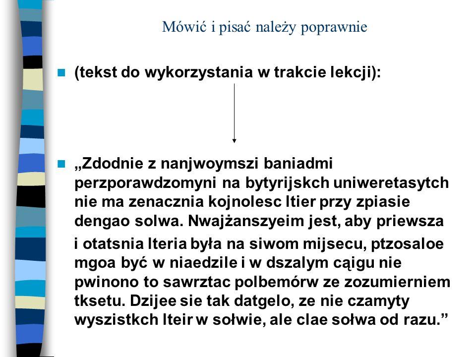 Propozycja Lekcji Z Nauki O Języku Ppt Pobierz