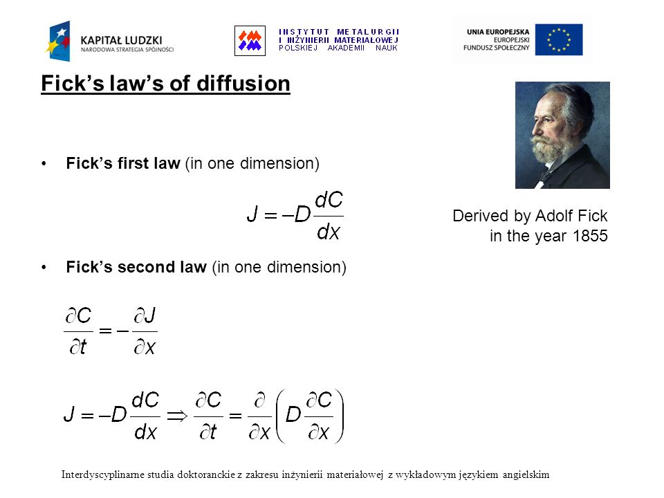 Fick's law's of diffusion