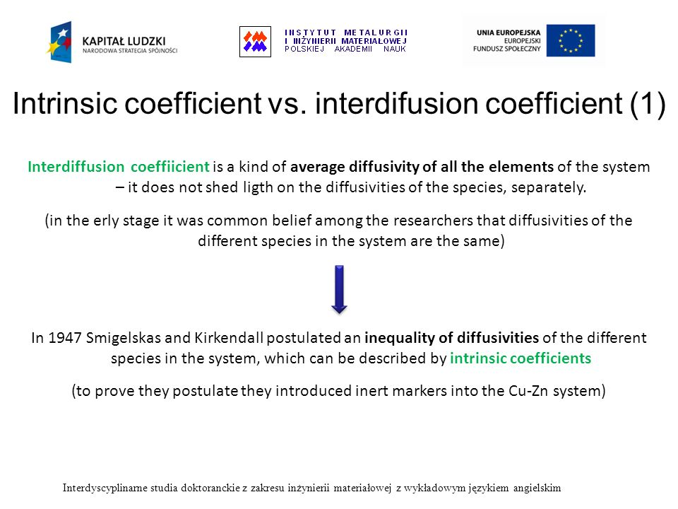 Intrinsic coefficient vs. interdifusion coefficient (1)