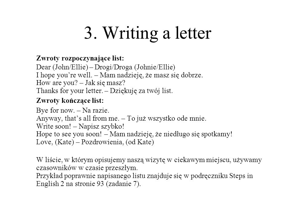 3. Writing a letter