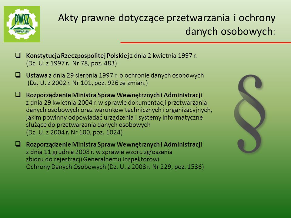 30da1201302615 Akty prawne dotyczące przetwarzania i ochrony danych osobowych: