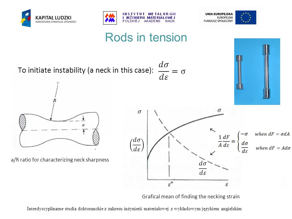 Rods in tension To initiate instability (a neck in this case):