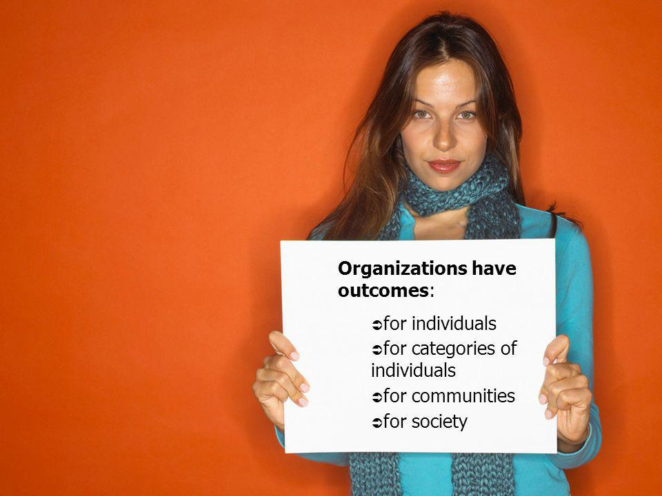 Organizations have outcomes: