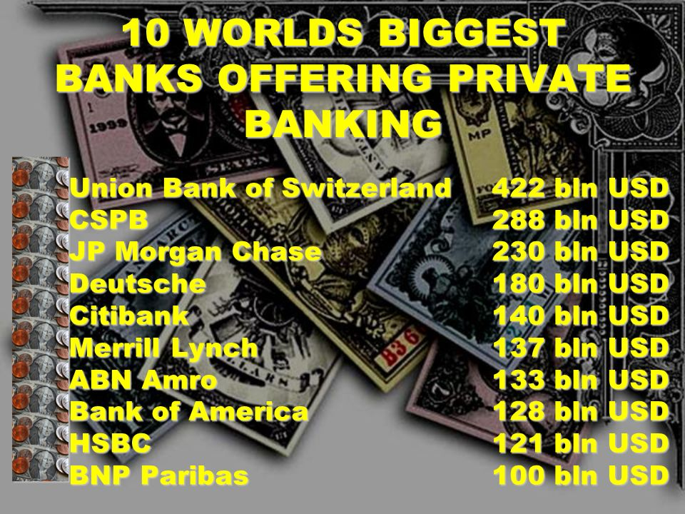 10 WORLDS BIGGEST BANKS OFFERING PRIVATE BANKING