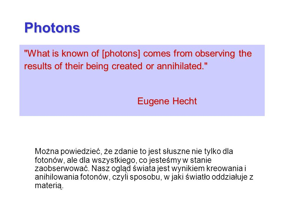 Photons What is known of [photons] comes from observing the