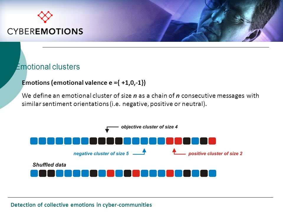 Emotional clusters Emotions (emotional valence e ={ +1,0,-1})