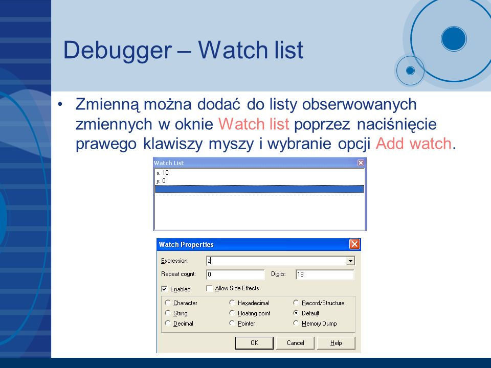 Debugger – Watch list