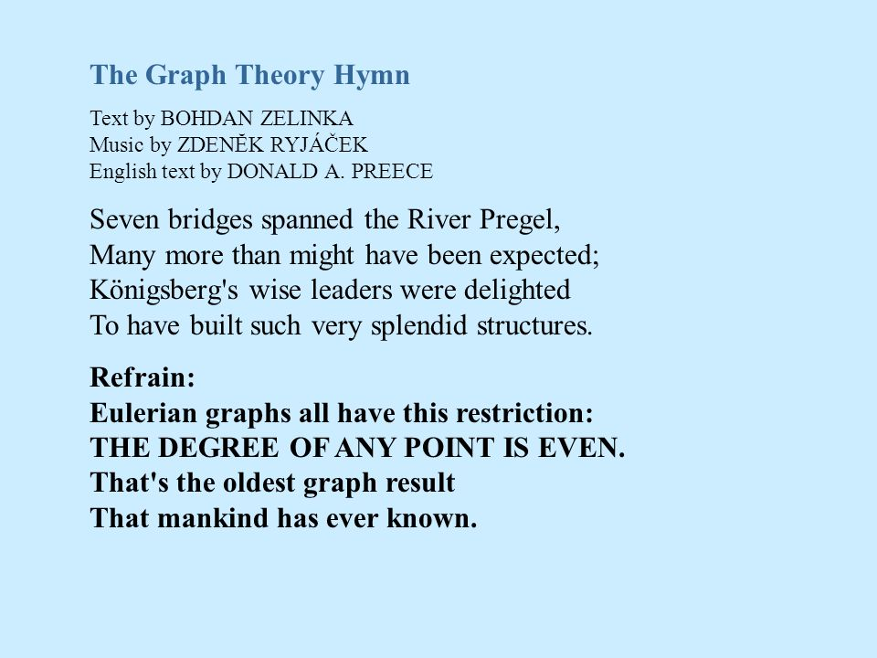The Graph Theory Hymn Text by BOHDAN ZELINKA Music by ZDENĔK RYJÁČEK English text by DONALD A. PREECE.