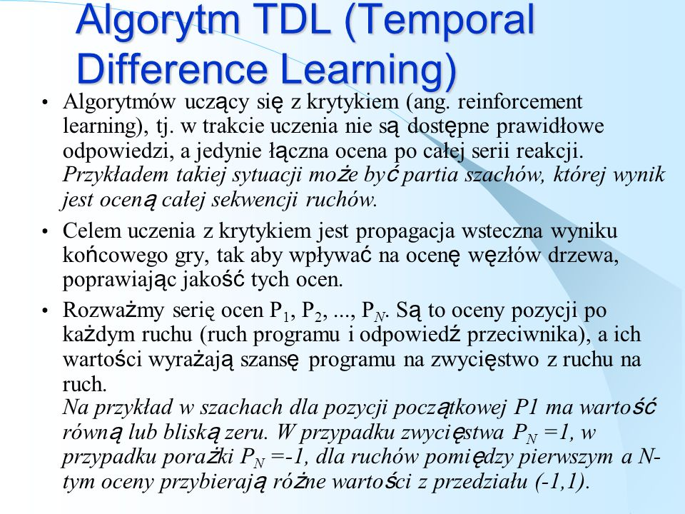 Algorytm TDL (Temporal Difference Learning)