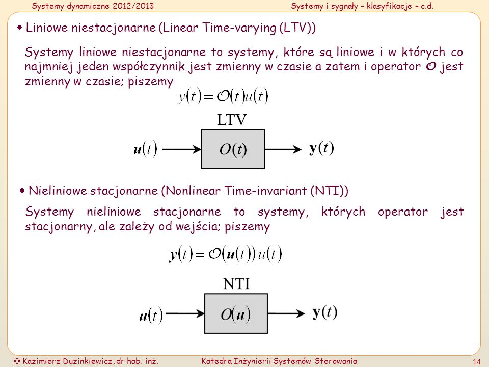  Liniowe niestacjonarne (Linear Time-varying (LTV))