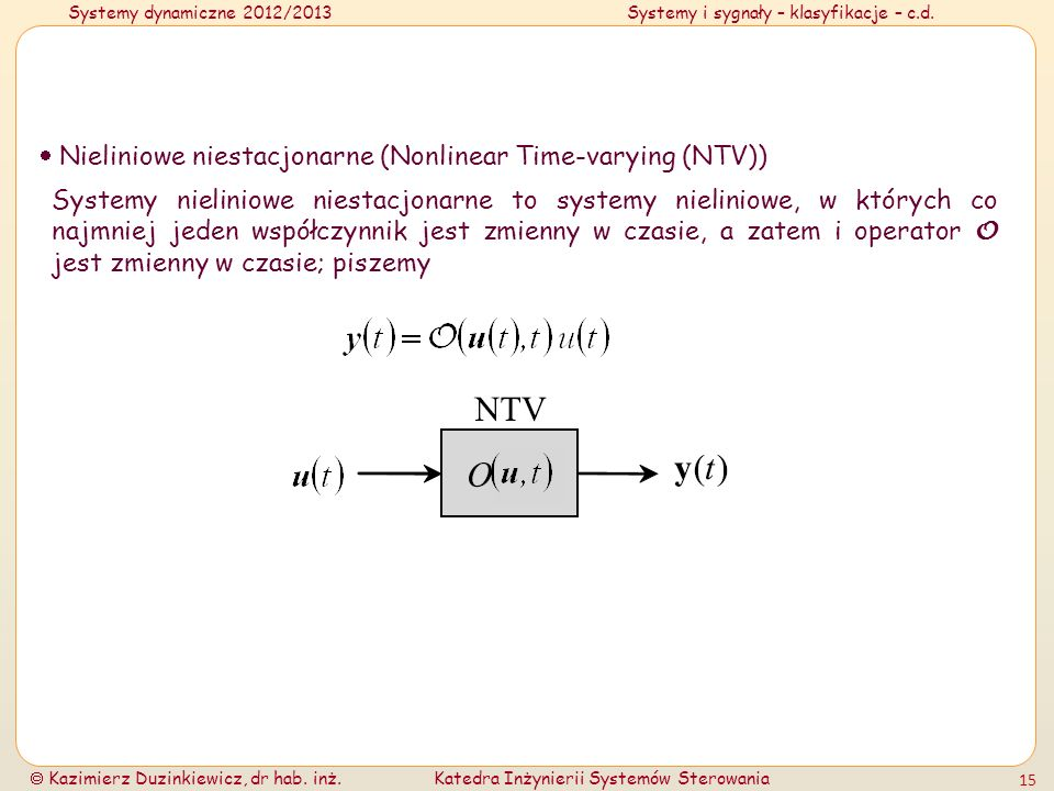  Nieliniowe niestacjonarne (Nonlinear Time-varying (NTV))