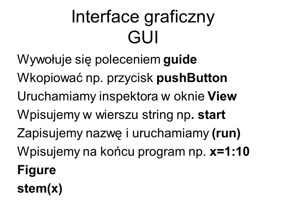 Interface graficzny GUI