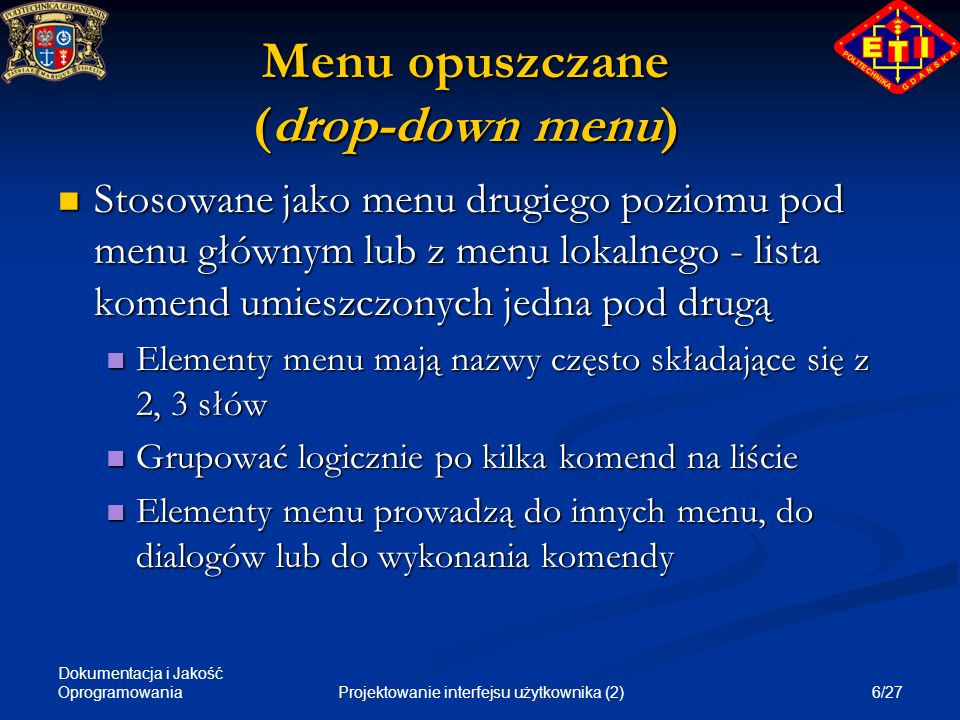 Menu opuszczane (drop-down menu)