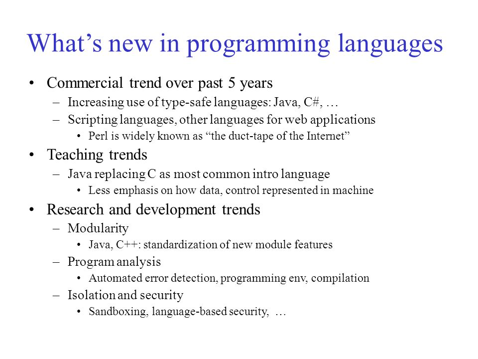 What's new in programming languages