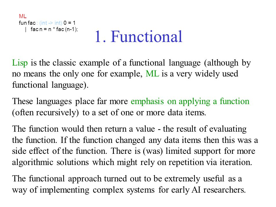 ML fun fac : (int -> int) 0 = 1. | fac n = n * fac (n-1); 1. Functional.