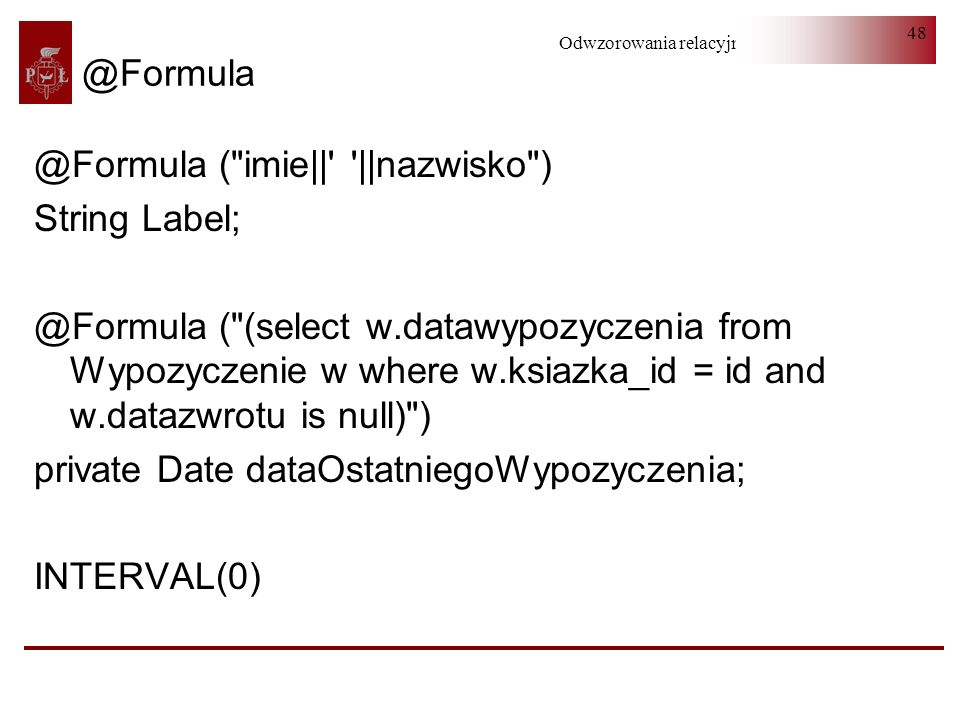 ( imie|| ||nazwisko ) String Label;