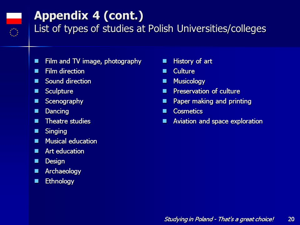 Appendix 4 (cont.) List of types of studies at Polish Universities/colleges
