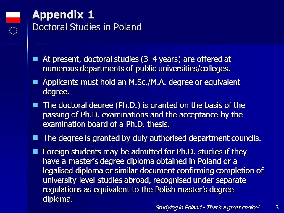 Appendix 1 Doctoral Studies in Poland