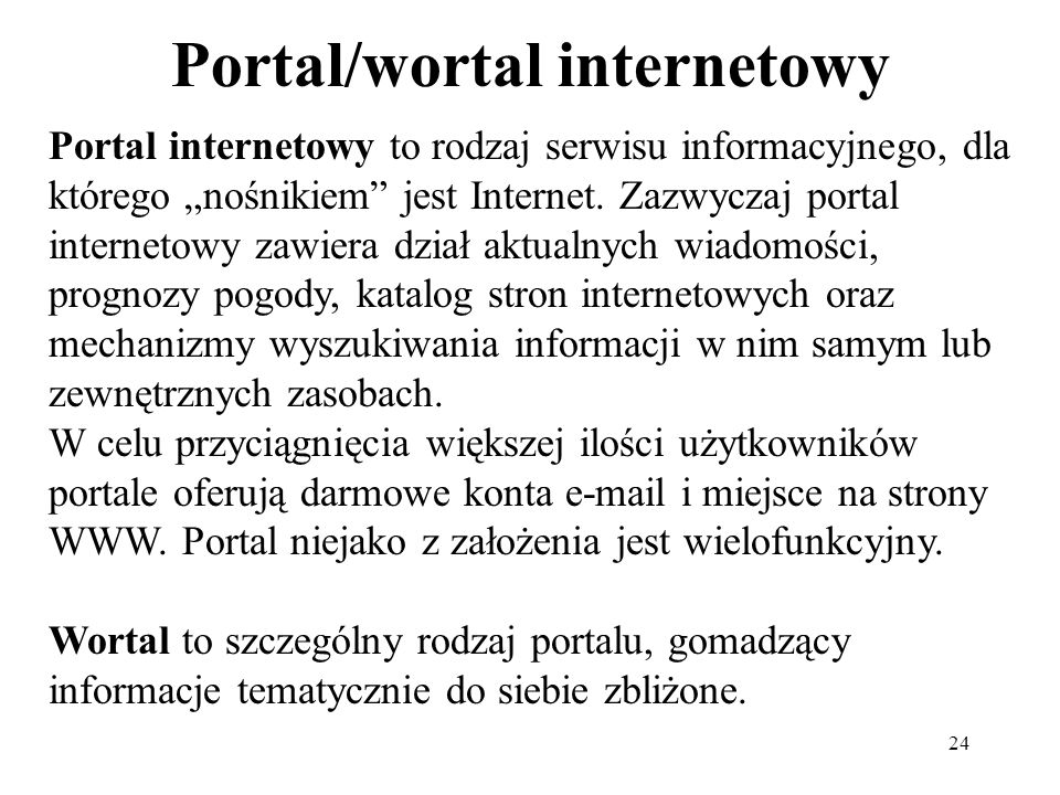 Portal/wortal internetowy