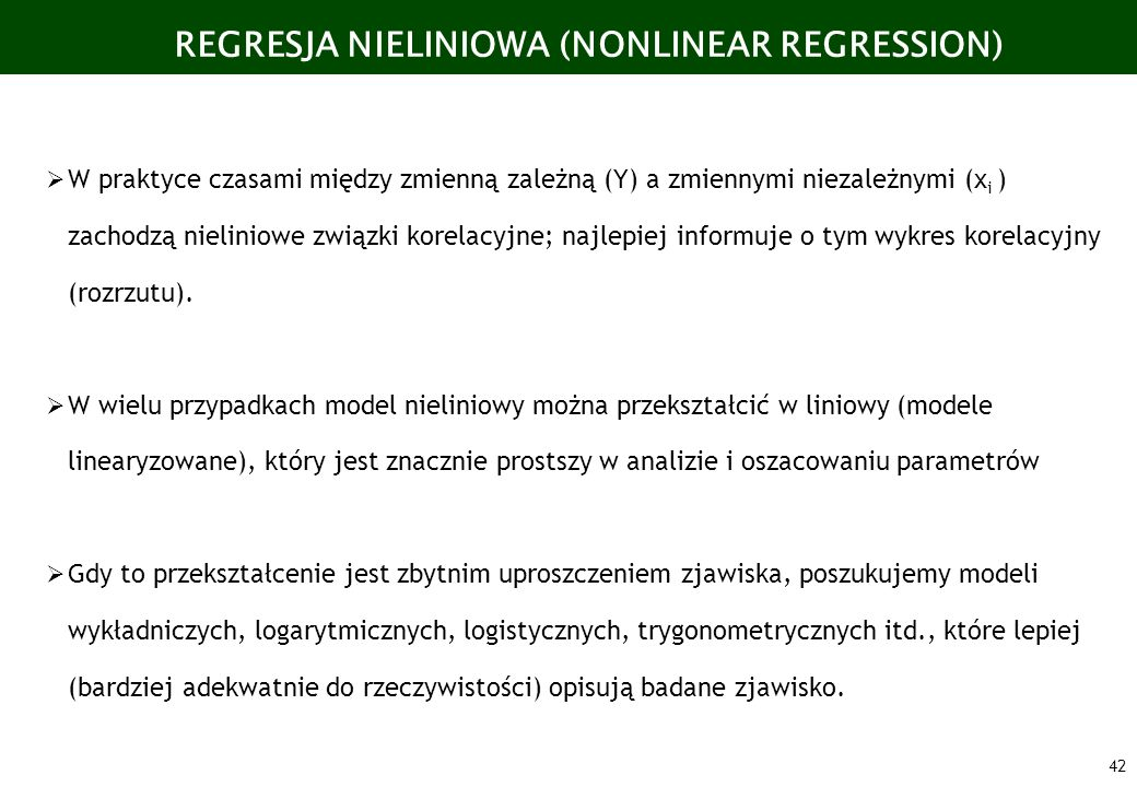 REGRESJA NIELINIOWA (NONLINEAR REGRESSION)