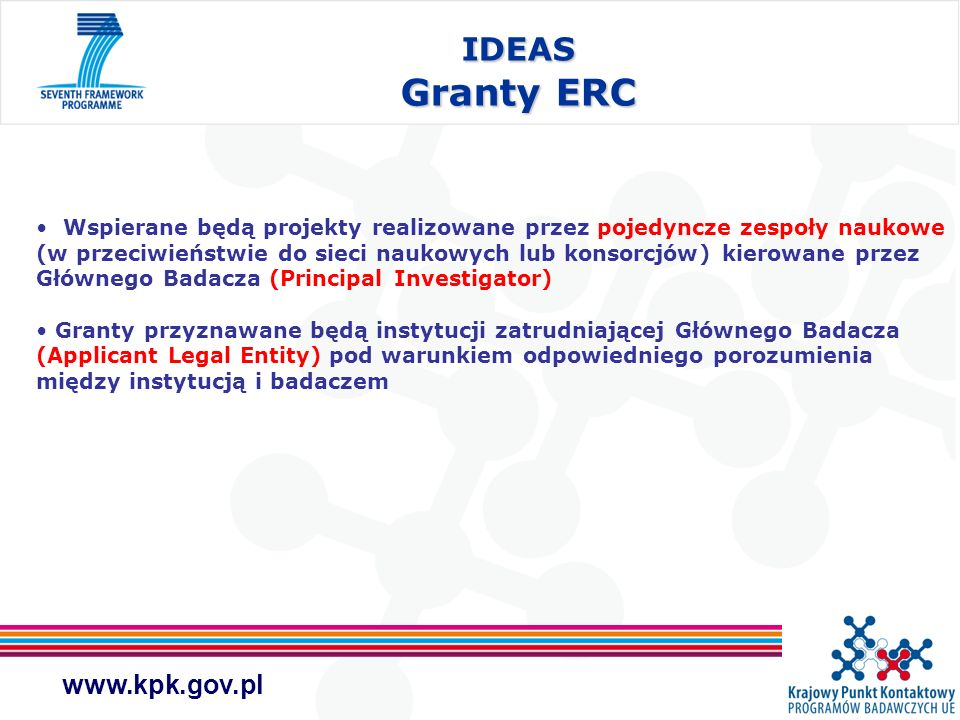 IDEAS Granty ERC