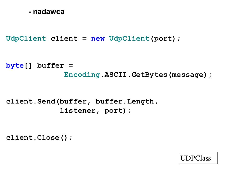 - nadawca UdpClient client = new UdpClient(port); byte[] buffer = Encoding.ASCII.GetBytes(message);