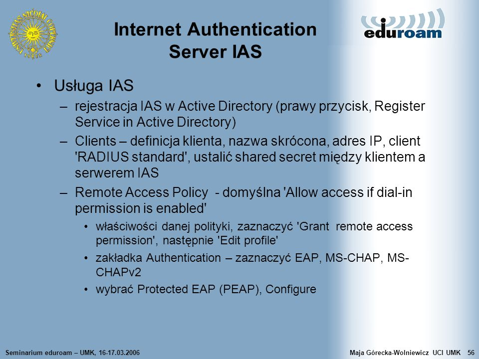 Internet Authentication Server IAS