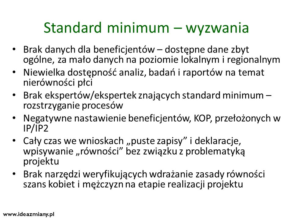 Standard minimum – wyzwania