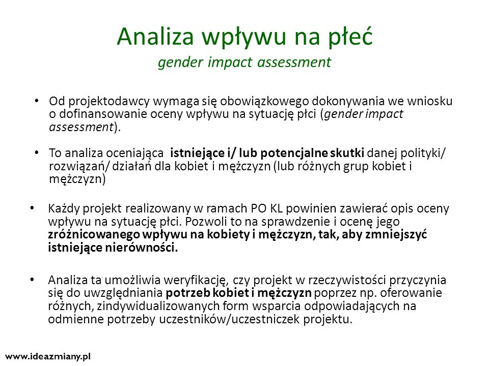 Analiza wpływu na płeć gender impact assessment