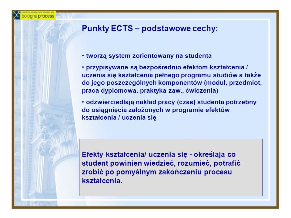 Punkty ECTS – podstawowe cechy: