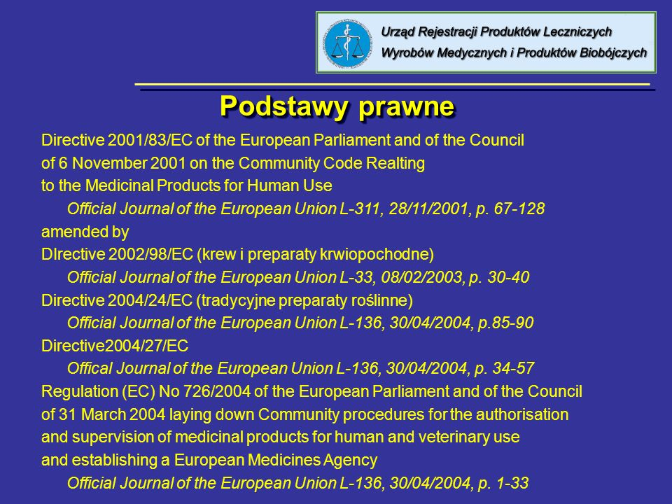 Podstawy prawne Directive 2001/83/EC of the European Parliament and of the Council. of 6 November 2001 on the Community Code Realting.