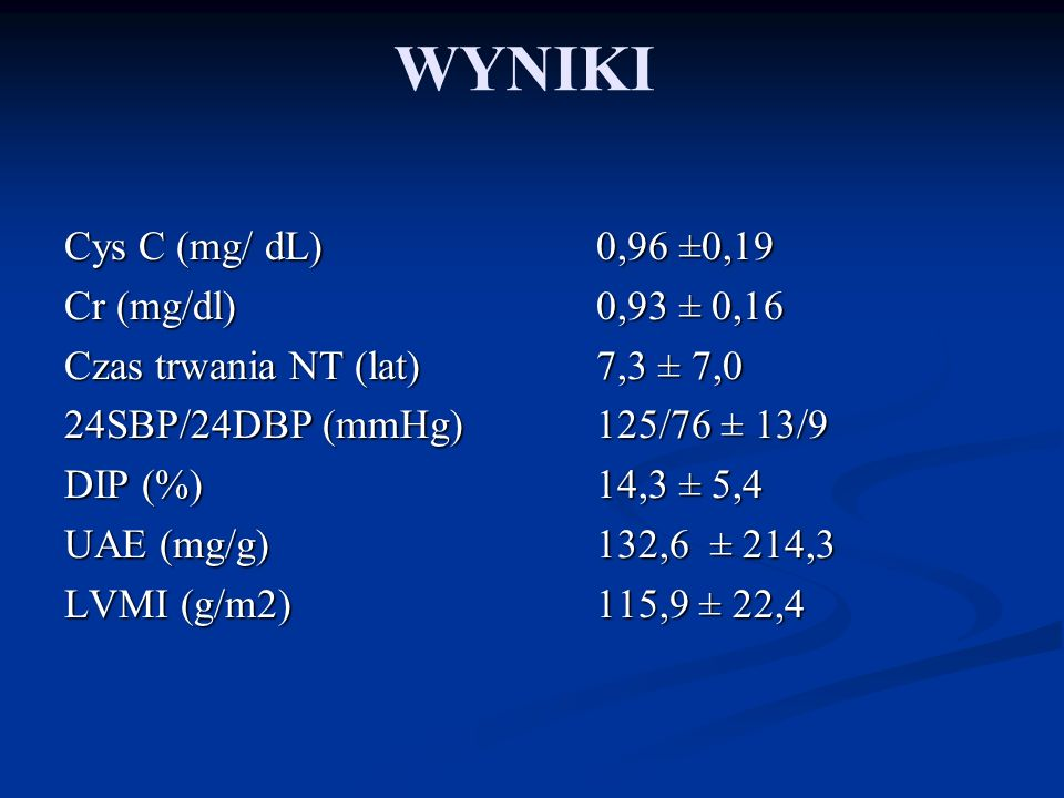 WYNIKI Cys C (mg/ dL) 0,96 ±0,19 Cr (mg/dl) 0,93 ± 0,16