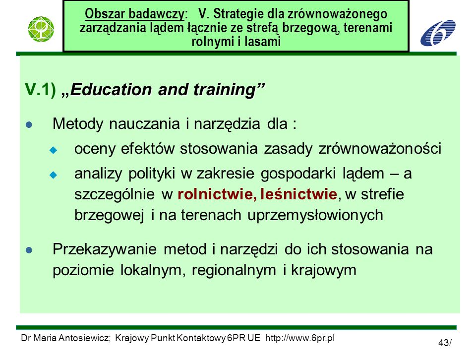 "V.1) ""Education and training"