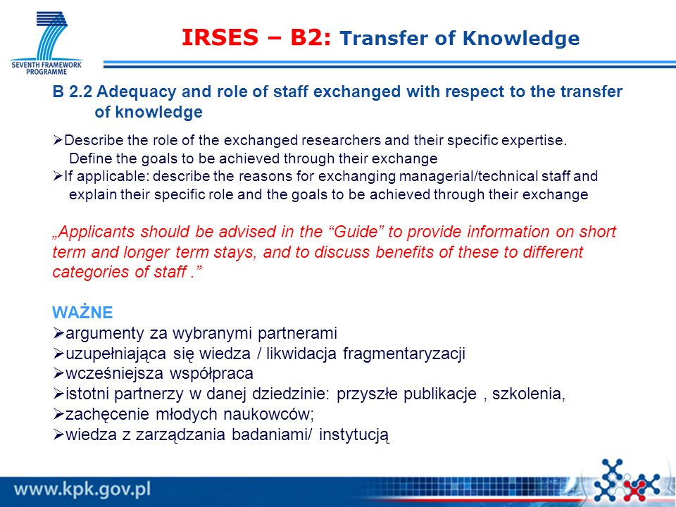 IRSES – B2: Transfer of Knowledge