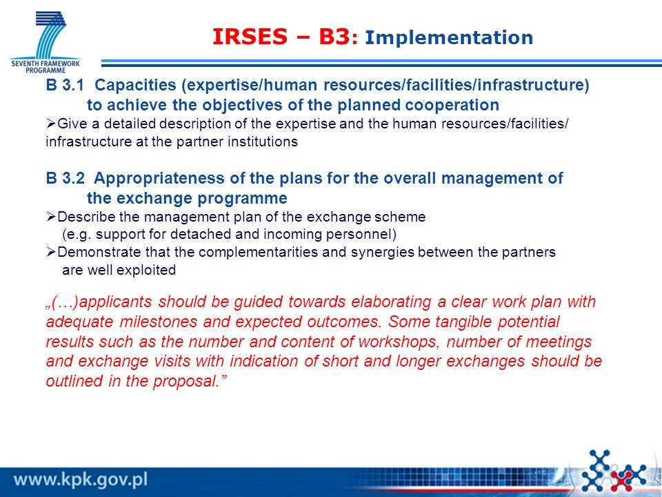IRSES – B3: Implementation