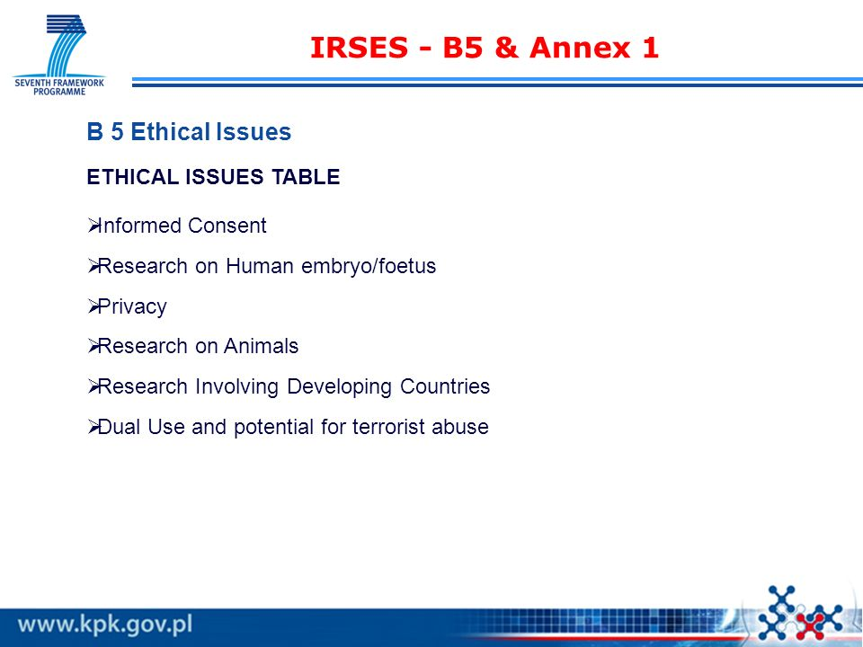IRSES - B5 & Annex 1 B 5 Ethical Issues ETHICAL ISSUES TABLE