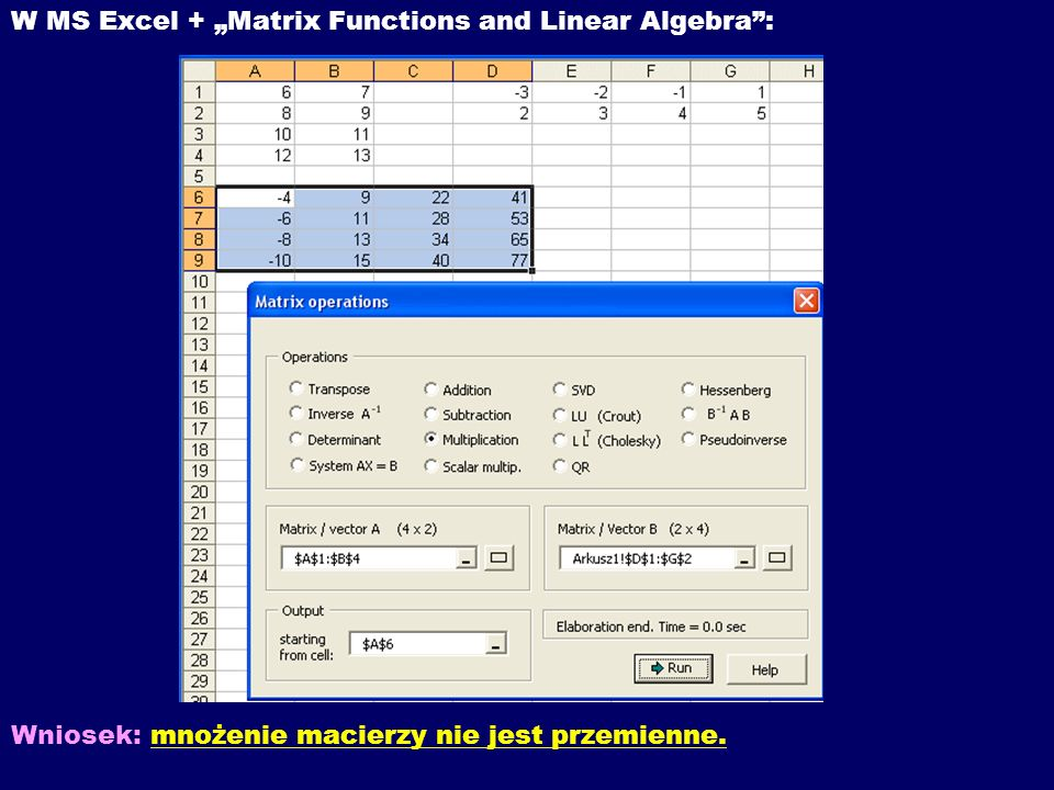 "W MS Excel + ""Matrix Functions and Linear Algebra :"