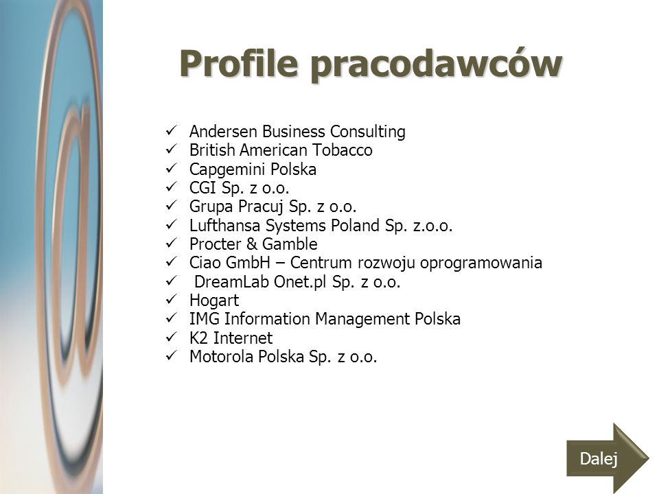 Profile pracodawców Andersen Business Consulting