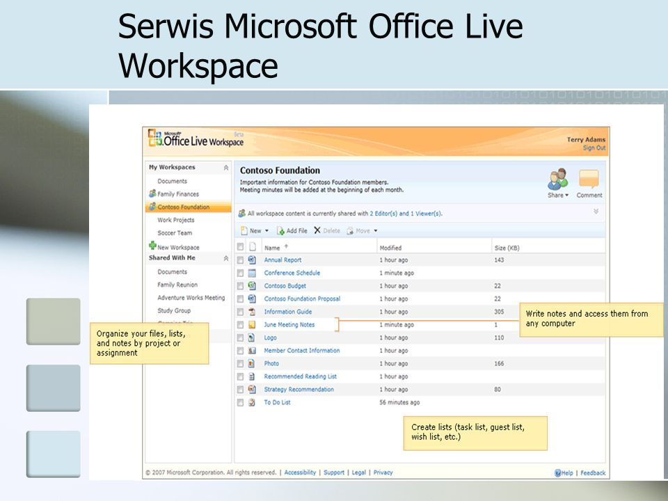 Serwis Microsoft Office Live Workspace
