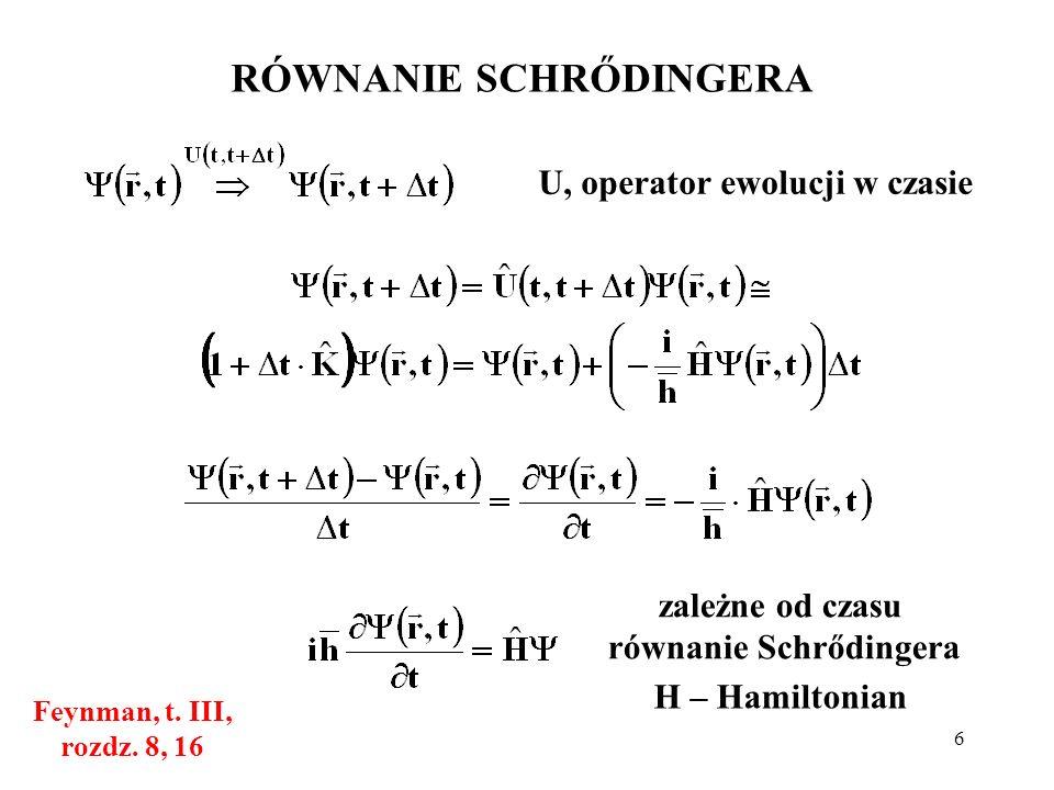 WYKŁAD 6 ATOM WODORU W MECHANICE KWANTOWEJ (równanie Schrődingera ...