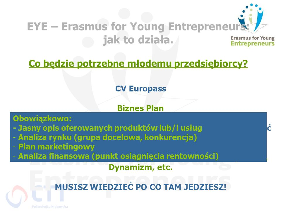 EYE – Erasmus for Young Entrepreneurs: jak to działa.