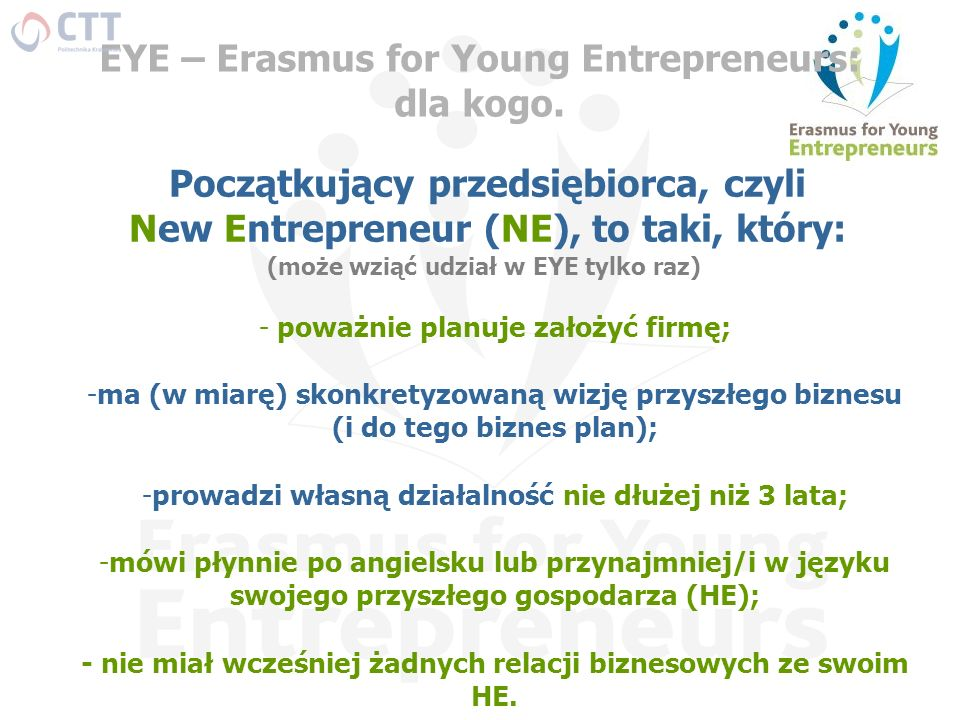 EYE – Erasmus for Young Entrepreneurs: dla kogo.