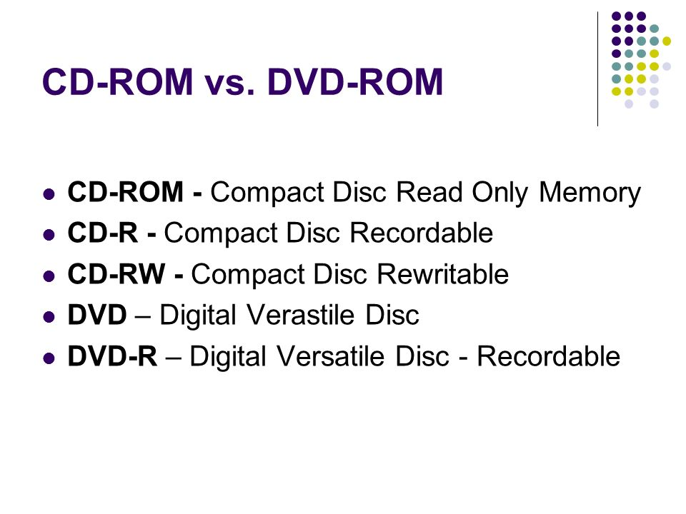 CD-ROM vs. DVD-ROM CD-ROM - Compact Disc Read Only Memory