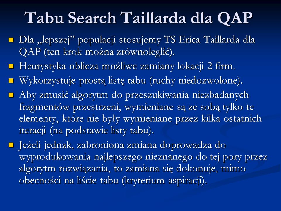 Tabu Search Taillarda dla QAP